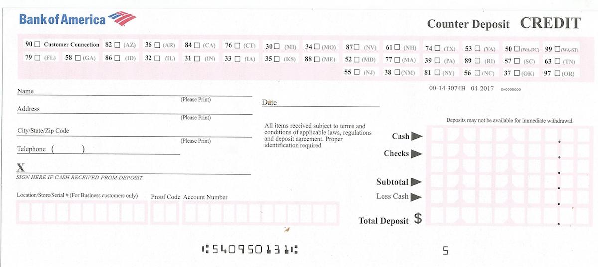 Bank Of America Deposit Slip Free