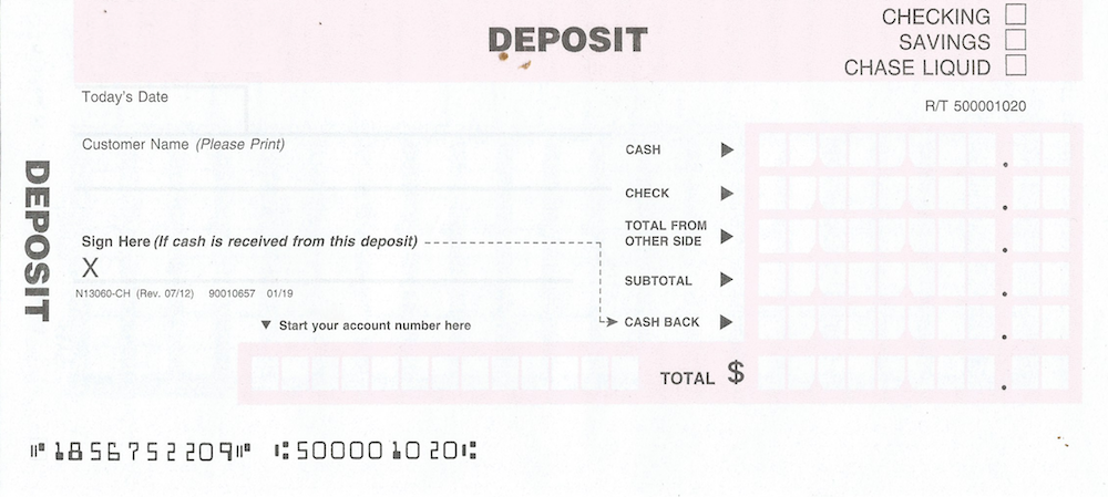 Patriot Federal Credit Union deposit slip