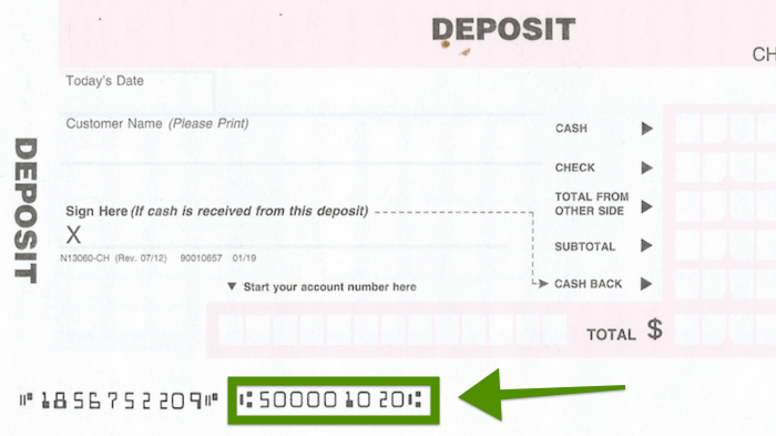 deposit slip routing number