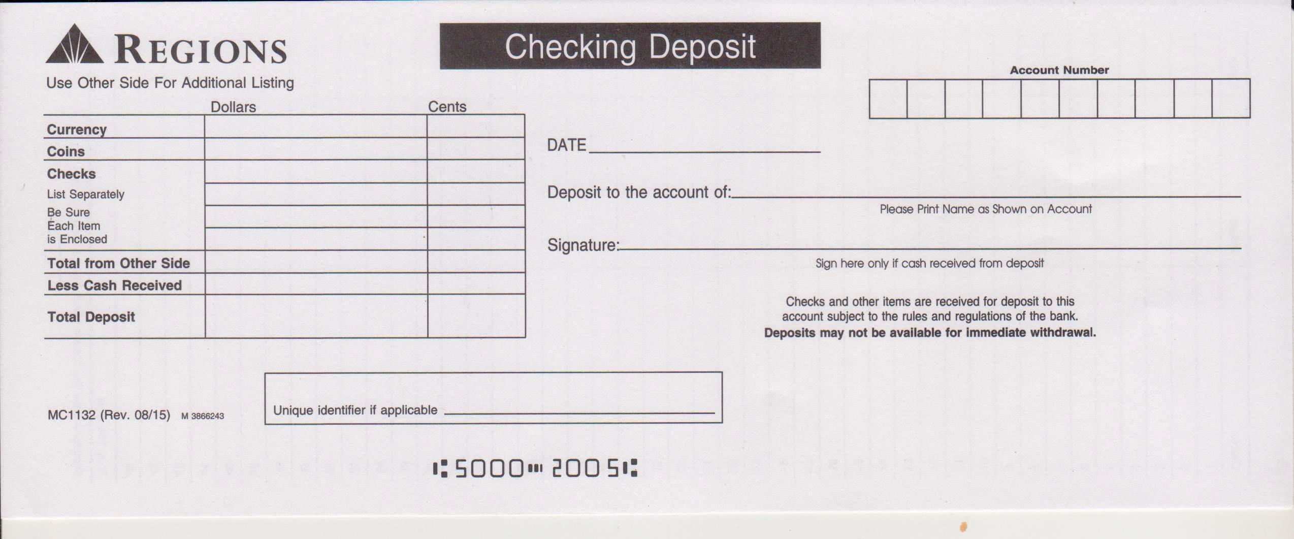 Regions Bank Deposit Slip Free Printable Template Checkdeposit Io