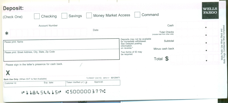 Wells Fargo Deposit Slip Free Printable Template Checkdeposit Io